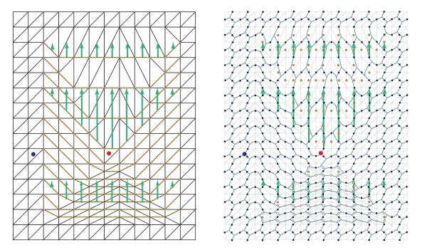Networks of qubits (represented by black dots in the image on the right) are deformed in order to braid two regions (represented by red and blue dots) around each other. These images show two intermediate stages of the process. Images provided courtesy of the authors.