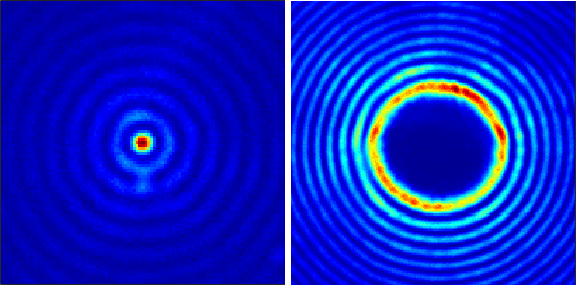 Caption: On the left is a cross section of the intensity of the Bessel beam responsible for creating the low-density plasma core. On the right is a cross section of the intensity of the Bessel beam that creates the high-density plasma wall. The left image is 50 micrometers across and the right image is 100 micrometers across. (Credit: Intense Laser-Matter Interactions Lab, University of Maryland)